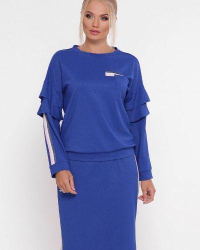 Синий вязаный юбочный костюм Vlavi