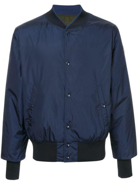 Синяя длинная куртка двусторонняя свободного кроя Moncler