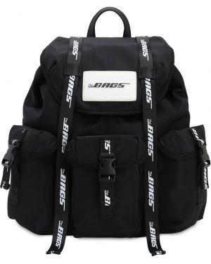 Czarny plecak klamry z nylonu The Bags