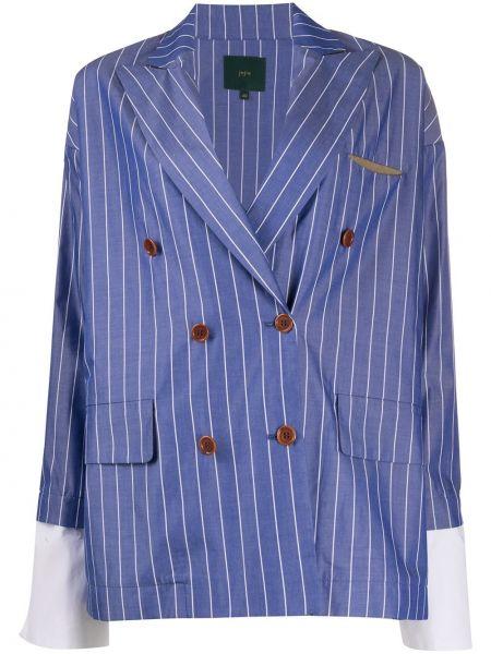 Синий пиджак двубортный с карманами Jejia