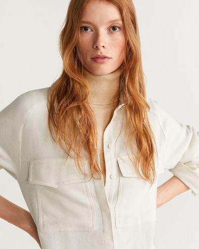 Блузка с длинным рукавом однотонная белая Mango