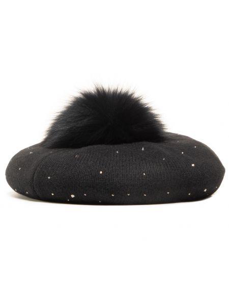Czarna czapka z angory Liu Jo