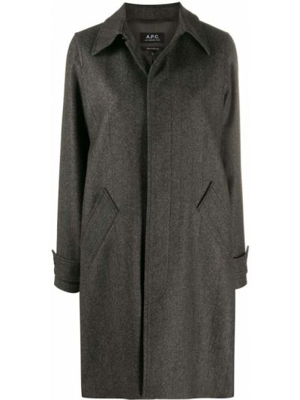 Шерстяное серое пальто классическое с воротником на пуговицах A.p.c.