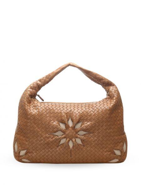 Кожаная сумка на плечо на молнии с карманами Bottega Veneta Pre-owned