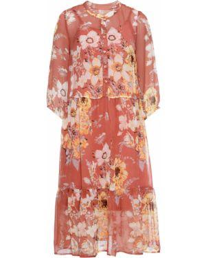 Платье шифоновое с оборками Bonprix