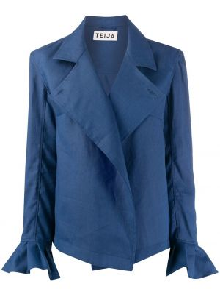 С рукавами синяя куртка с запахом Teija
