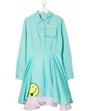 Зеленое платье с рукавами из фатина на пуговицах с воротником Natasha Zinko Kids