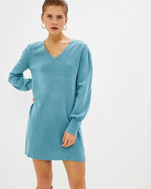 Бирюзовое вязаное платье Rodier