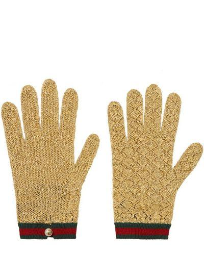 Вязаные кожаные перчатки золотые Gucci