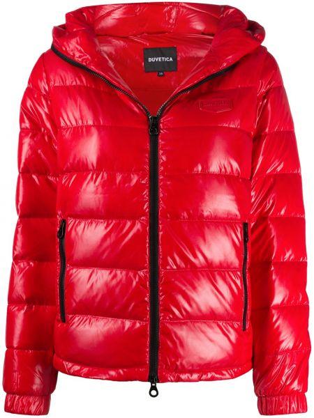 Красная классическая куртка с капюшоном с манжетами с перьями Duvetica