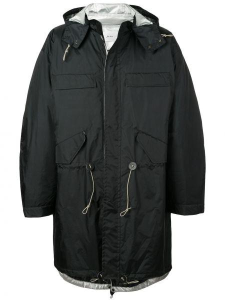 Czarny płaszcz przeciwdeszczowy z długimi rękawami bawełniany Julien David
