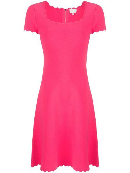 Платье мини розовое на молнии Milly