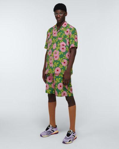 Zielona koszula z jedwabiu w kwiaty Gucci