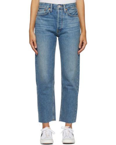 Skórzany niebieski jeansy z łatami z kieszeniami Re/done