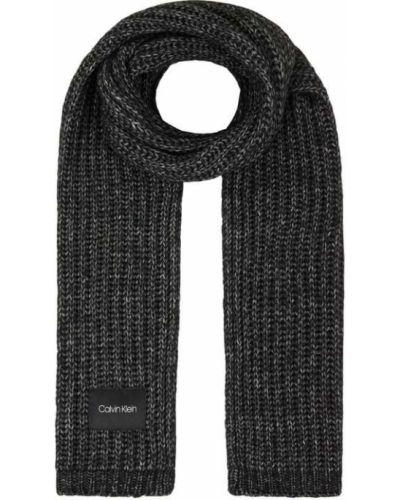 Bawełna wełniany czarny szal z paskami Ck Calvin Klein