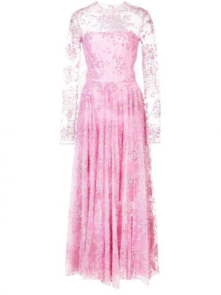 Różowa sukienka długa tiulowa z długimi rękawami Christian Siriano