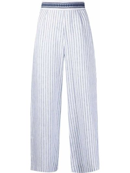 Хлопковые белые укороченные брюки в полоску Ermanno Scervino