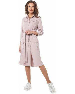Летнее платье на пуговицах сафари с разрезами по бокам с воротником Dizzyway