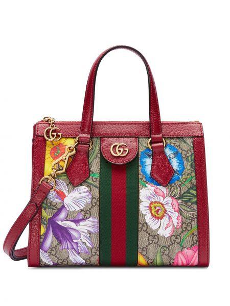 Парусиновая сумка-тоут с пряжкой круглая на молнии Gucci