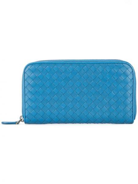 Синий кожаный кошелек круглый винтажный с карманами Bottega Veneta Pre-owned