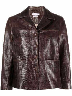 Коричневая куртка из крокодила Saks Potts