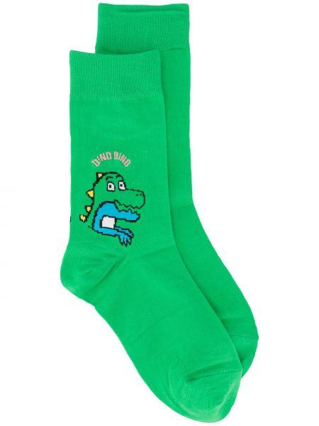 Хлопковые зеленые носки с вышивкой Sjyp