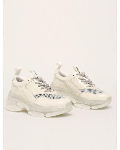 Белые текстильные кроссовки на платформе на шнуровке Miss Sixty