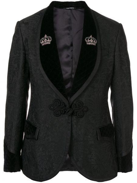 С рукавами бархатный черный костюм классический Dolce & Gabbana