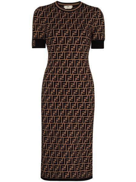 Коричневое платье миди с вырезом с короткими рукавами из вискозы Fendi