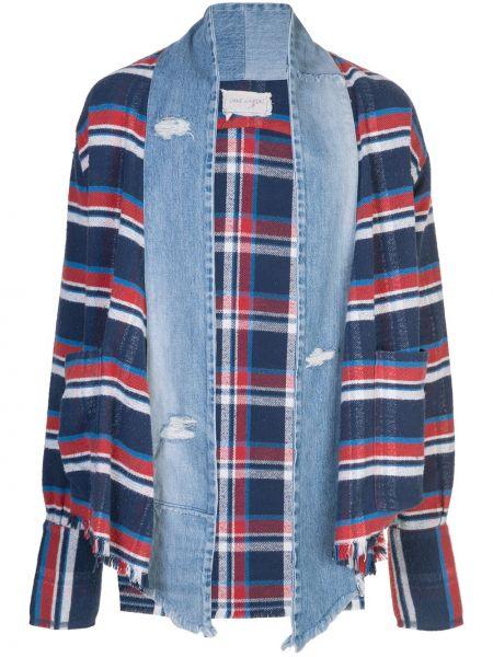 Niebieskie jeansy w paski bawełniane Greg Lauren