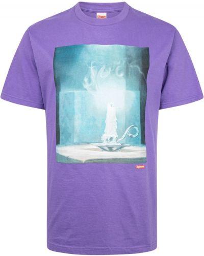 Fioletowa t-shirt bawełniana krótki rękaw Supreme
