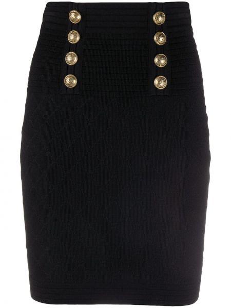 Черная прямая с завышенной талией юбка на пуговицах Balmain
