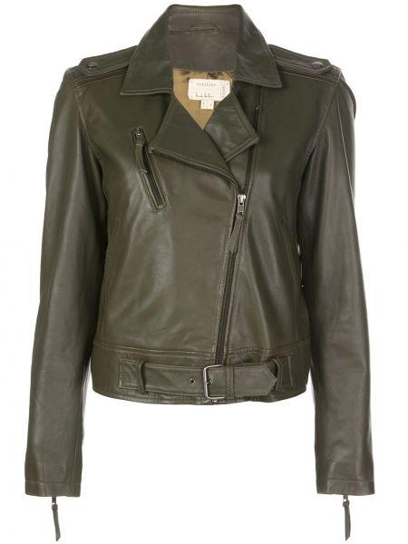 Czarna długa kurtka skórzana z długimi rękawami Nicole Miller