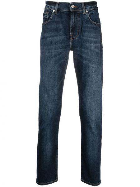 Bawełna bawełna niebieski klasyczny jeansy z paskiem 7 For All Mankind