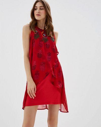 Красное платье прямое Desigual