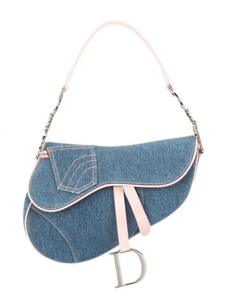 Niebieski skórzany torba kosmetyczna z kieszeniami z łatami Christian Dior