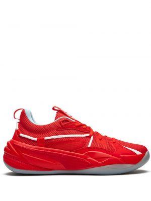 Красные кожаные кроссовки на шнурках Puma