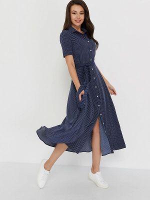 Платье миди синее A.karina