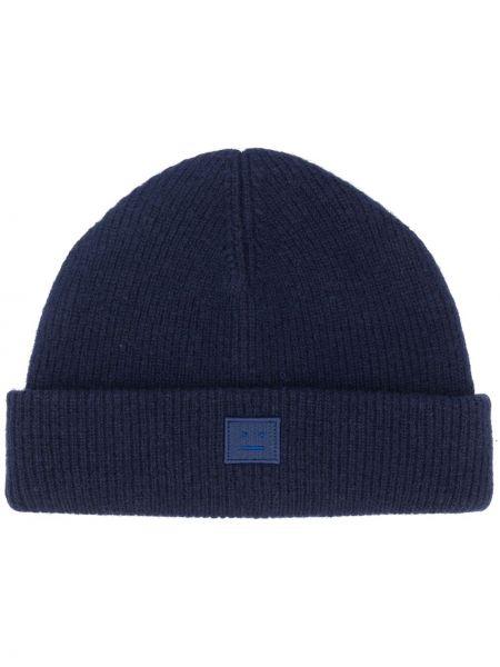 Prążkowana niebieska czapka wełniana Acne Studios