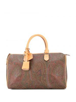 Кожаная коричневая дорожная сумка на молнии Etro