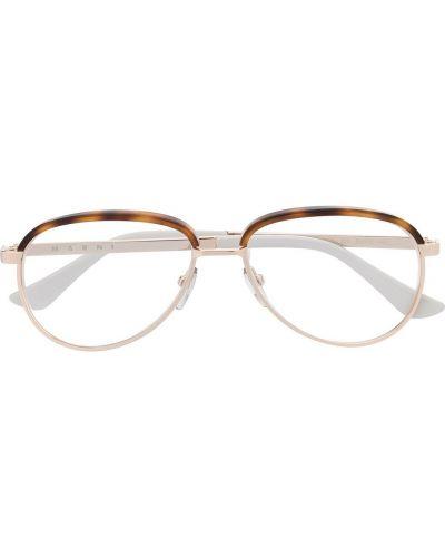 Золотистые желтые очки авиаторы металлические прозрачные Marni Eyewear