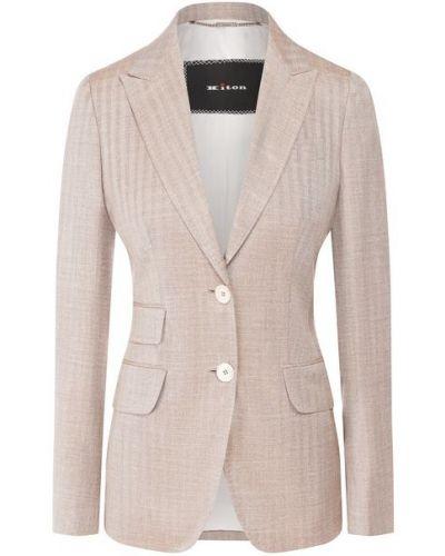 Бежевый шерстяной приталенный пиджак с подкладкой Kiton