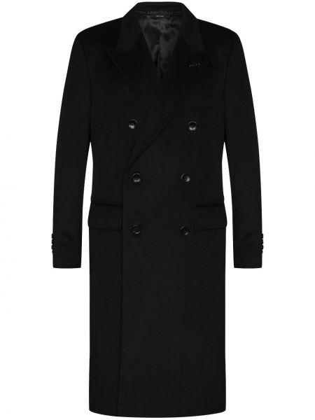 Z kaszmiru czarny płaszcz z długimi rękawami Tom Ford