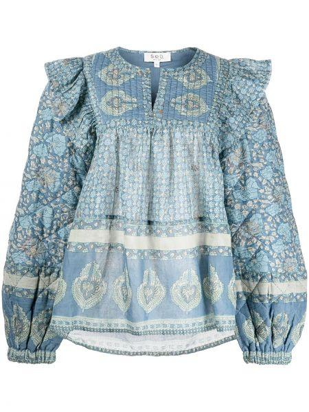 Блузка с принтом - синяя Sea