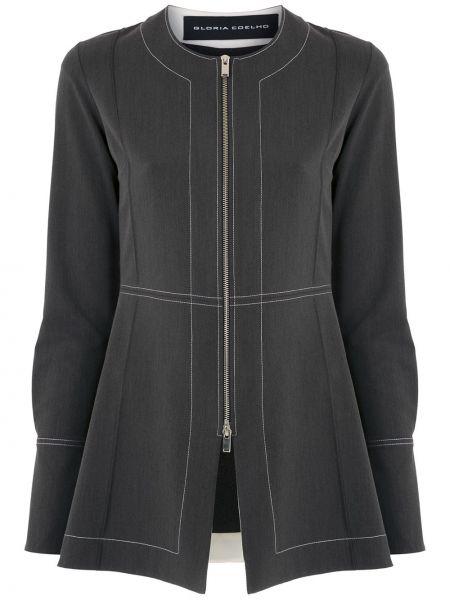 Черный пиджак на молнии из вискозы с круглым вырезом Gloria Coelho
