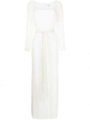 Biała sukienka długa z długimi rękawami Badgley Mischka