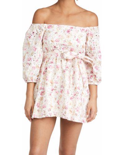 Платье мини в цветочный принт с поясом с декольте Minkpink
