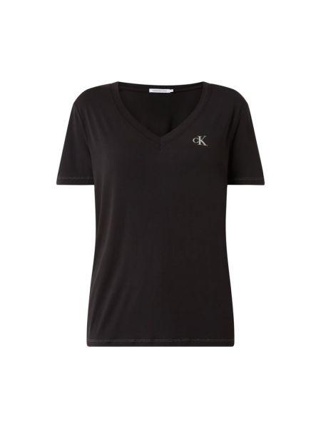 Czarny koszula jeansowa z dekoltem Calvin Klein Jeans