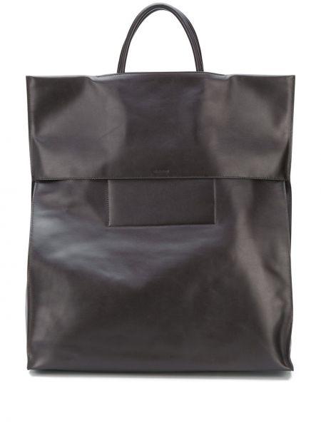 Skórzana torba torba na zakupy żółty Jil Sander