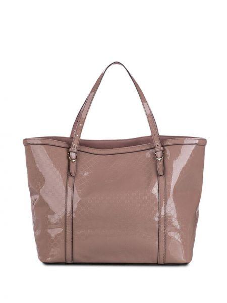 Кожаная лаковая розовая сумка-тоут Gucci Pre-owned